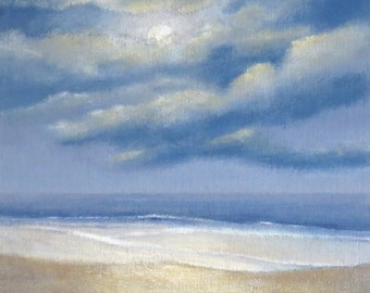 Moon over the ocean original acrylic painting on canvas board