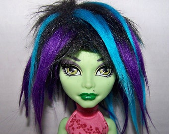 Handmade Monster High doll wig - black, blue and purple faux fur wig