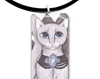 Grey Tabby, Big Blue eyes, Grey cat, Fantasy art glass tile pendant, adorable cat, gray cat, blue diamond collar