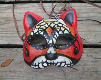 hand painted, one of a kind, Masquerade Cat mask, red and black, spider web, Day of the Dead,