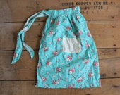 Vintage Turquoise and Pink and Floral Apron