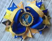 Princess Belle Hair bow, Beauty and the Beast Bow, Beauty and the Beast Birthday Bow, Belle Hair Bow, Belle Hair Clip