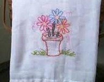 "Hand Embroidered  Floursack Dish Towel 30"" x 30"" 100% Cotton"