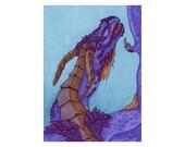 Purple Dragon - Fantasy ACEO Original Art Card - Miniature Drawing
