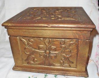 Antique Folk Art Hand Carved wooden Marriage Box - Keepsake Trinket Jewelry