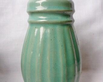 Vintage Pottery MUFFINEER Sugar Shaker - Green Glaze - Star