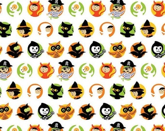 ON SALE Riley Blake Halloween The Costume Clubhouse Collection - 1 Yard White Cameo