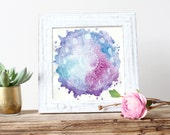 Moon Mandala - Giclée Art Print - Watercolor Splatter Art - By Rachael Caringella Tree Talker Art