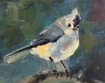 Tufted Titmouse  - 5x7 inch Original Acrylic Painting