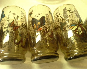 Smokey brown butterfly vintage Anchor Hocking (5) drinking glasses