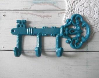 key hook towel holder turquoise wall hook coat hook clothing hook bohemian chic cottage chic shabby decor leash holder