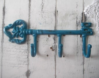 key hooks turquoise hook wall hook leash hook cast iron hook scarf hook belt hooks cottage chic shabby decor bohemian turquoise boho