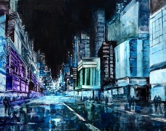 Cityscape Painting realism perspective huge abstract, blue, teal, turkoise, aqua unique  Modern design art  by Milen