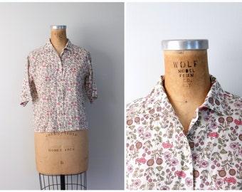 15 DOLLAR SALE! // pink floral print blouse - 60s ladies shirt / short sleeve blouse - vintage 60s ladies blouse / sweet kawaii blouse
