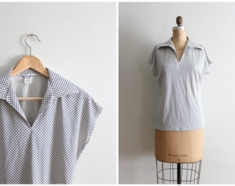 1970s bias windowpane check print top - wide pointed collar shirt / vintage 70s ladies top - retro collared shirt / 70s blue & ivory top