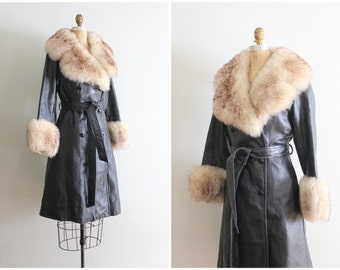 vintage 70s black leather trench coat - shearling collar & cuffs / 1970s rocker coat - princess coat / bohemian luxe - 70s leather jacket