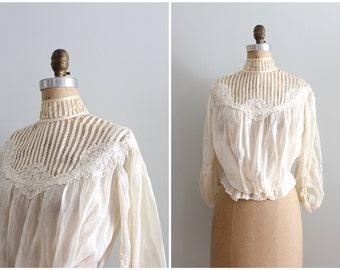 fine heirloom Victorian blouse - antique ladies blouse / Edwardian bride - antique 1800s - 1900 bridal top / cream high neck blouse