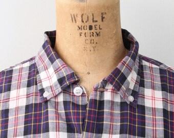 vintage 50s soft English cotton men's plaid shirt - button down shirt / Nelson Paige - 1950s preppy shirt / Ivy League - preppy plaid shirt