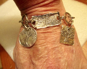 Elegant All STERLING Silver Artisan Hand Embossed TREE of LIFE Focal w/Textured Sterling Link(s) Bracelet w/3 Tree, 1 Bird, 1 Leaf Charms