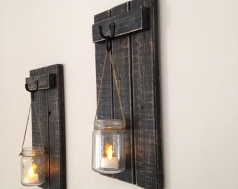 "Rustic Wall Sconce, Wooden Candle Holder, Mason Jar Candle Holder, Wooden Wall Sconce, Rustic Decor, Wall Sconce, 7""x15"" Set of 2"