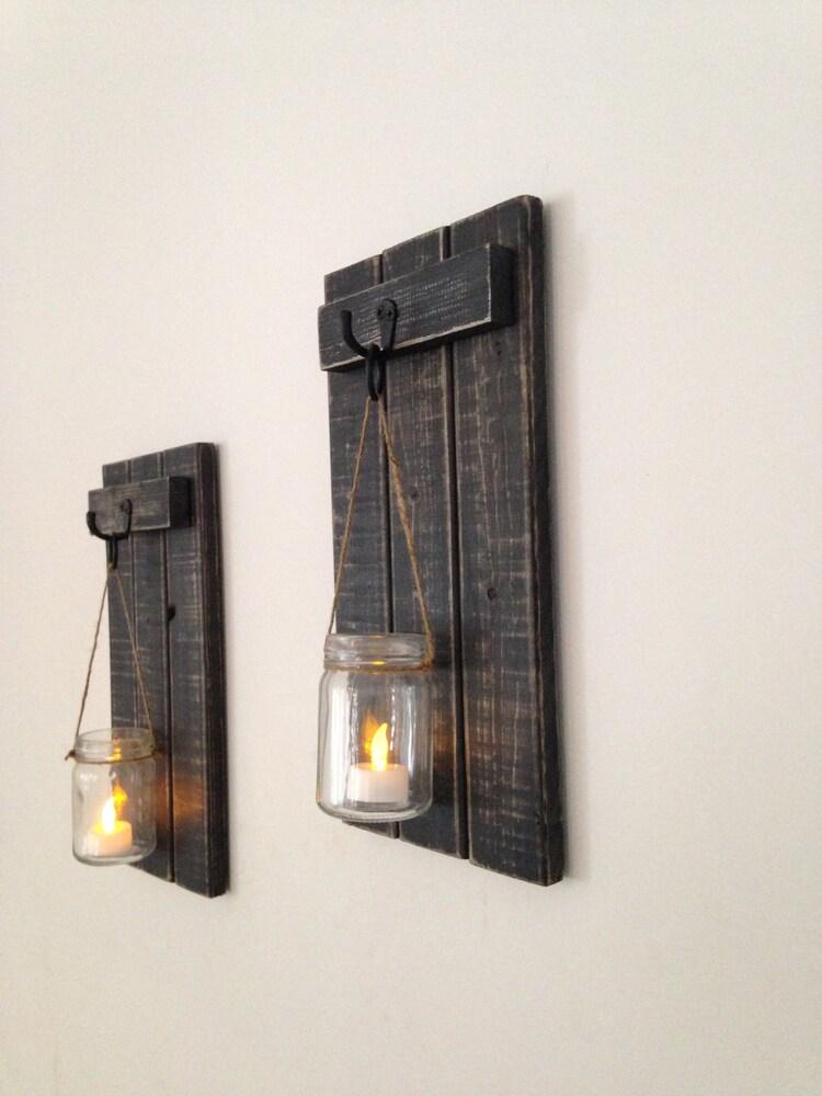 applique murale rustique porte bougie en bois par covedecor sur etsy. Black Bedroom Furniture Sets. Home Design Ideas