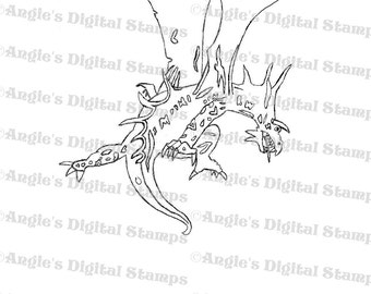 Scary Dragon Digital Stamp Image
