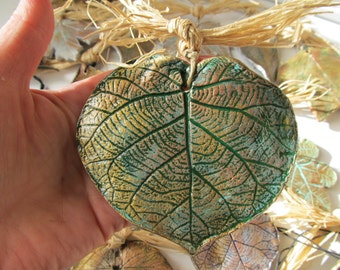 Real Kiwi Leaf Impression in Clay Antiqued Gold Color on Green Hung on Hemp Cord with Raffia Bow Kitchen House Ornament