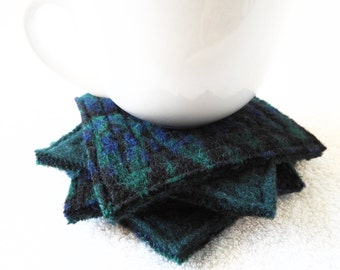 Coasters PEACOCK Blue Green & Black Upcycled Mug Rugs / Felted Wool Coasters / Green Coasters Ecofriendly Home Decor Gift by WormeWoole