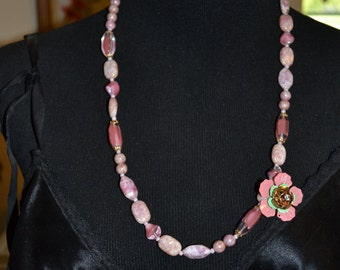Necklace Vintage Pink and Purple Glass Boho Paris Festival Wear