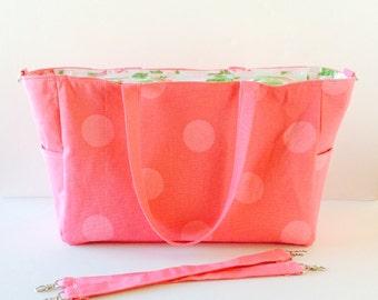 MADE TO ORDER Pink Polkadot Diaper Bag, Waterproof laminated cotton lining, zipper closure, stroller straps