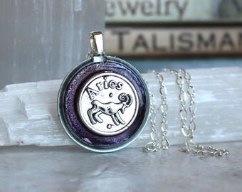violet aries necklace, astrology jewelry, zodiac necklace, aries jewelry, birthday gift, unique gift, zodiac sign, astrological sign