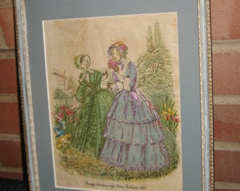 Godey's Americanized Paris Fashions 1849 Embroidered Linen Matted Framed Glass SO LOVELY