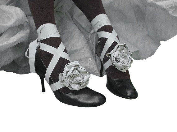 Fashion Leather Flower Wrapping BootStraps Dirty White Gaiters, Spats Alternative, custom order