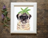 Pug print- dog wearing a crown