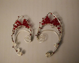 Fairy/Elf Ear Cuffs - Silver Wire with Red Glass and Crystal Beads
