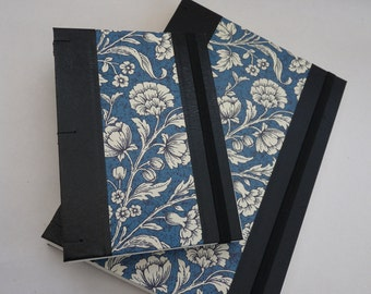 Florentine notebook, journal, A5, faux leather, flowers, coptic, rossi