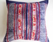 Batik Indigo Floral Hmong Pillow Cover - Vintage Boho Tribal Throw - Bohemian Batik Pillows