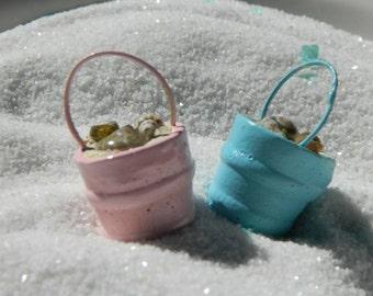 Miniature Beach Pail -  Miniature Beach Bucket with Sea Shells - Beach Scene - Miniature Garden Accessories