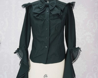 Made to Measure UK 6-10 Princess sleeved blouse, embellished with guipure lace a detachable bow on a brooch, a perfect lolita fashion basic.