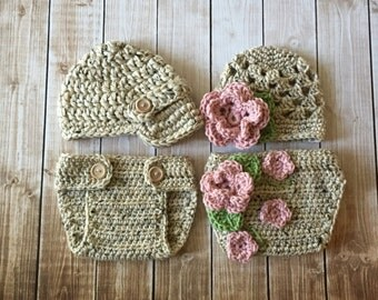 Twin Photography Prop Set in Oatmeal, Dusty Pink, Olive Green and Taupe Available in Newborn to 12 Months- MADE TO ORDER