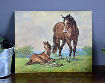 Horses by Elmer Brown Card Stock Lithograph / D.A.C. N.Y.