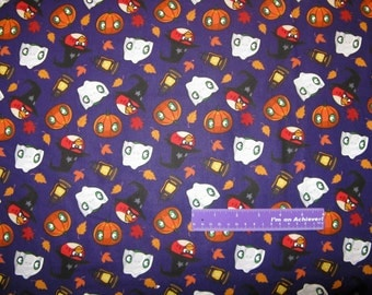 ANGRY BIRDS Halloween Witch Pumpkin Video Game Cotton Fabric By The Half Yard