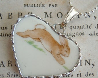 Fiona & The Fig - Royal Doulton Bunnykins - Leaping Bunny - Broken China Soldered Necklace Pendant Charm-Jewelry