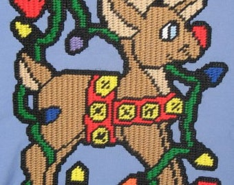 Jingle Bell Reindeer Plastic Canvas Pattern