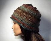 Hand Knit Beanie- Teal Peacock Chocolate Brown Fade Beanie Hat