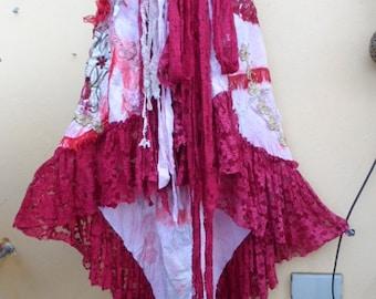 "20%OFF wedding vintage bohemian gypsy lagenlook boho wrap skirt...a work of art 46"" across plus ties."