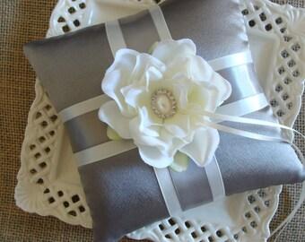 Wedding Ring Bearer Pillow - Ivory Magnolia on Pewter Satin