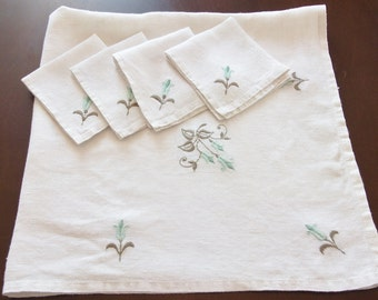 Vintage Linen TABLECLOTH Bridge cloth Hand Embroidered, & 4 Napkins