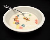 tiny row boats and Fruit Loops, fun food art photography, cereal bowl kitchen decor,  breakfast pop art