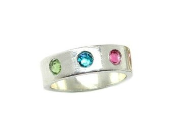 Custom Birthstone Silver Ring-Mothers Ring-Grandmothers Ring-Pewter RIng